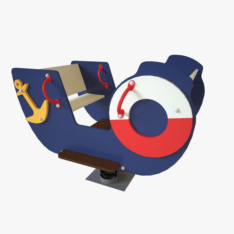 3D playground spring ship