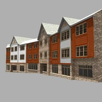 3D house 3 storey apartment model