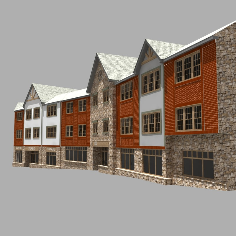 3D house 3 storey apartment model