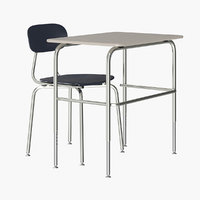 realistic school desk chair 3D model