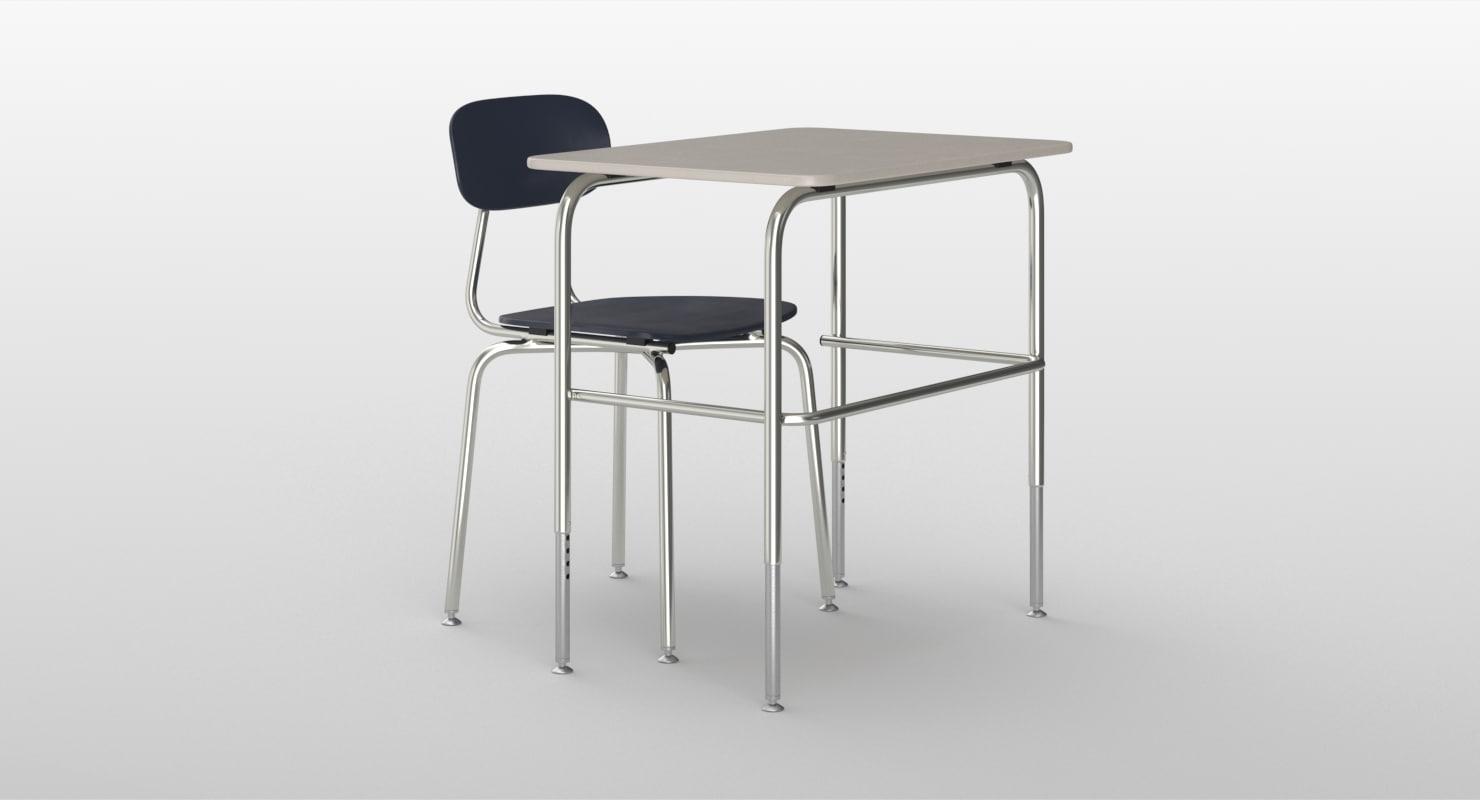 realistic school desk chair 3D model