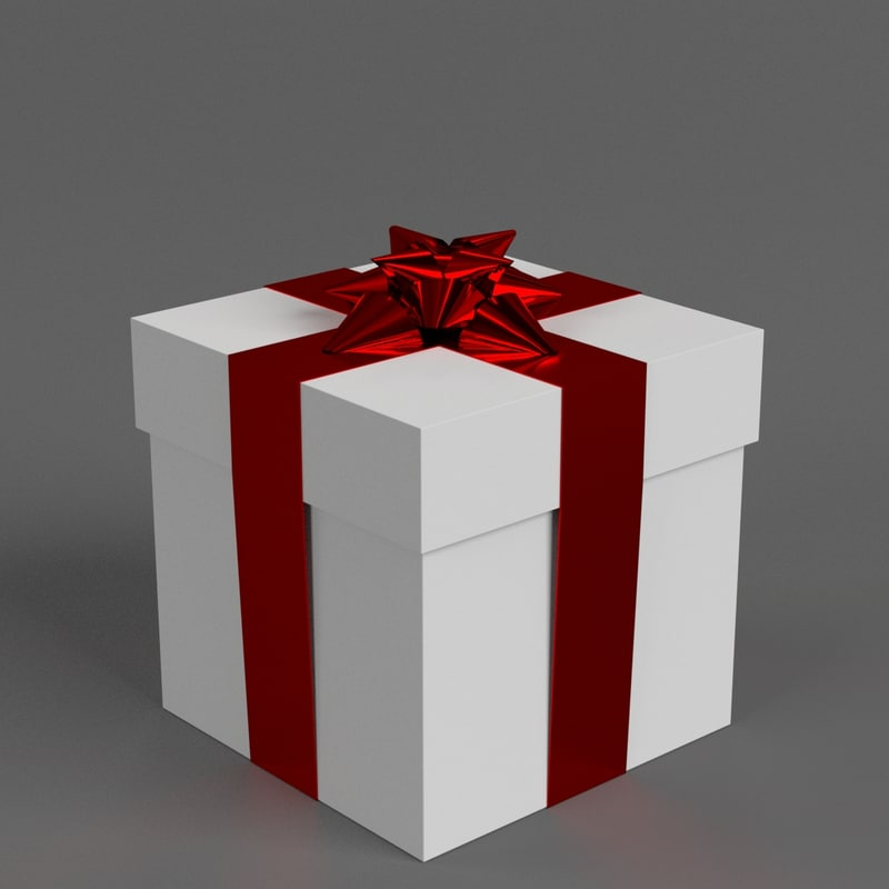 3D model gift box star ribbon bow