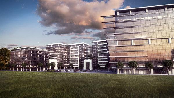 business park office buildings 3D