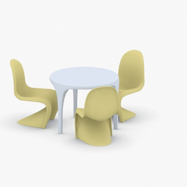 3D interior - sets chair table model
