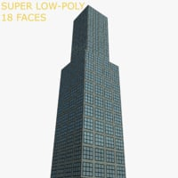 3D low-poly skyscraper model