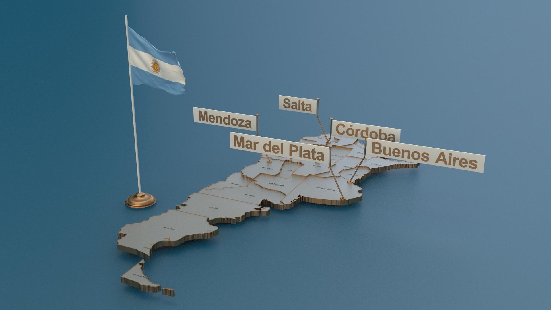 Mapa Detallado De Argentina Con Bandera Animada
