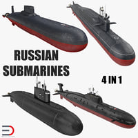 Russian Military Submarines 3D Models Collection