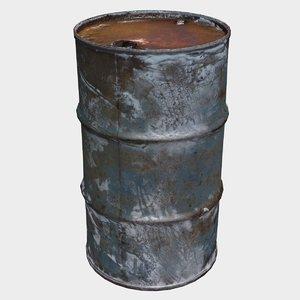 3D model old metal barrel