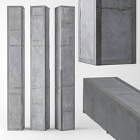3D model column concrete metal