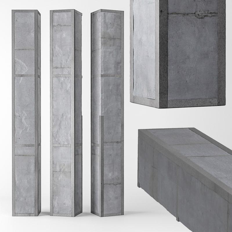 3D model column concrete metal
