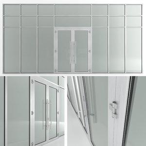 glass doors partitions 3D model