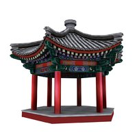 3D ancient chinese corner pavilion model