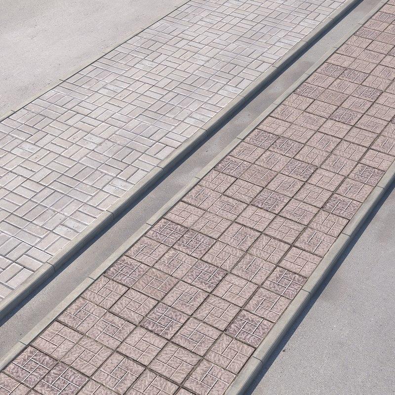 walkway paving road 3D model