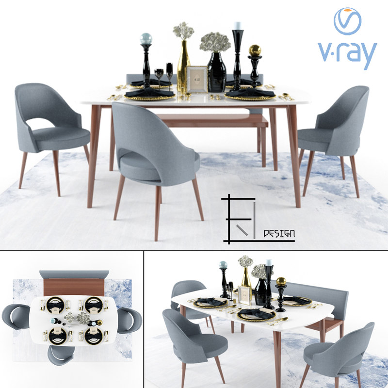 modern luxury dining set 3D model