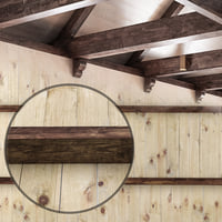 Wooden ceiling with beams.