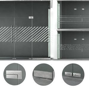 3D set glass partitions sandblasting