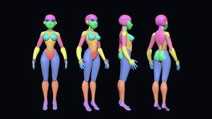 stylized female base mesh 3D model