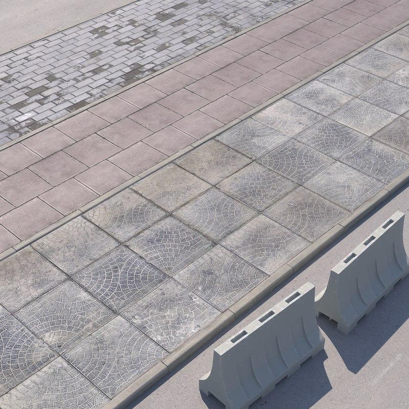walkway paving road 3D