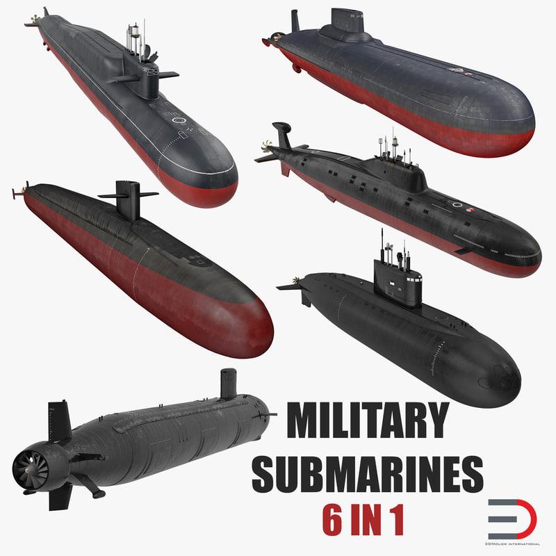 military submarines 3D model