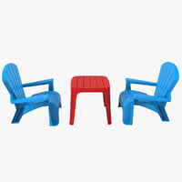 3D model toy garden chairs table set