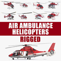 rigged air ambulance helicopters 3D