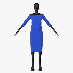 skirt blouse blue 3D model