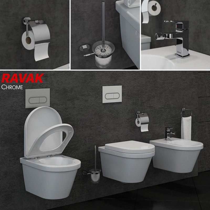 toilet bowl bidet ravak 3D model