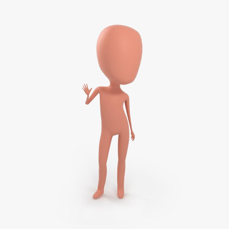 3D model stickman rig character