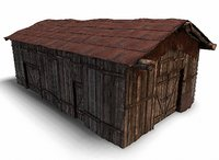 3D wooden barn model