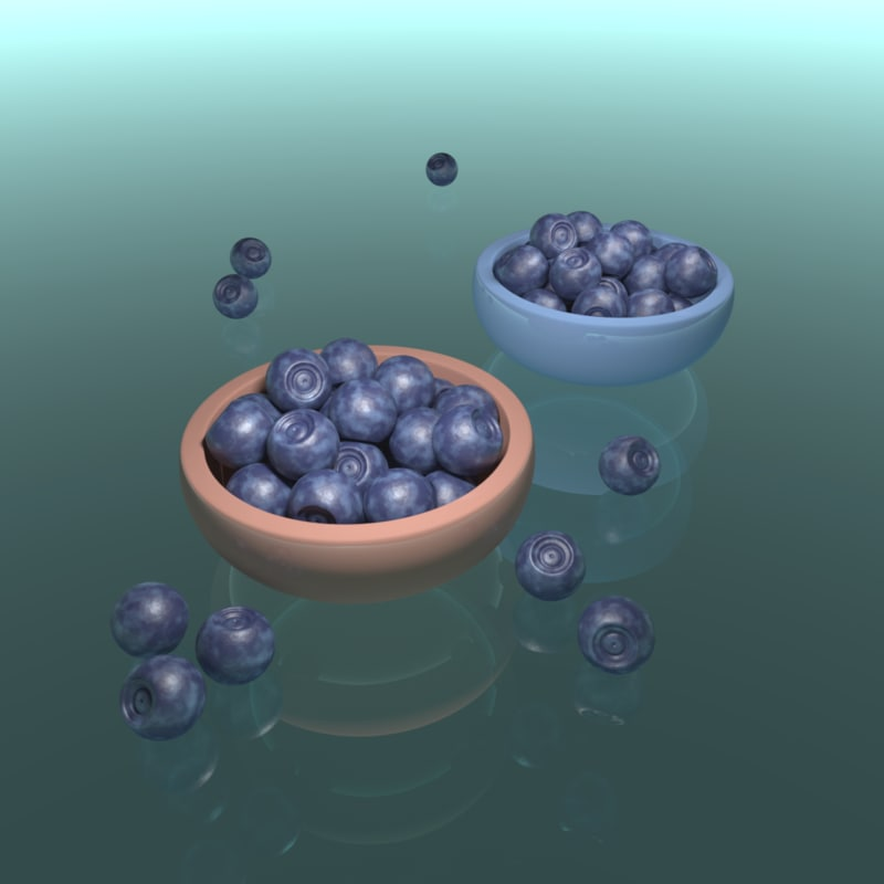 3D blueberry bowls model