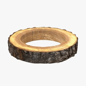 wood log ring 3D