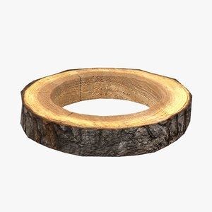 wood log ring low-poly 3D model