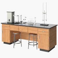 realistic laboratory equipment desk model