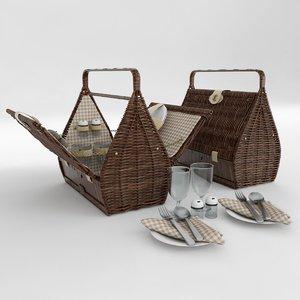 3D picnic basket 2 person