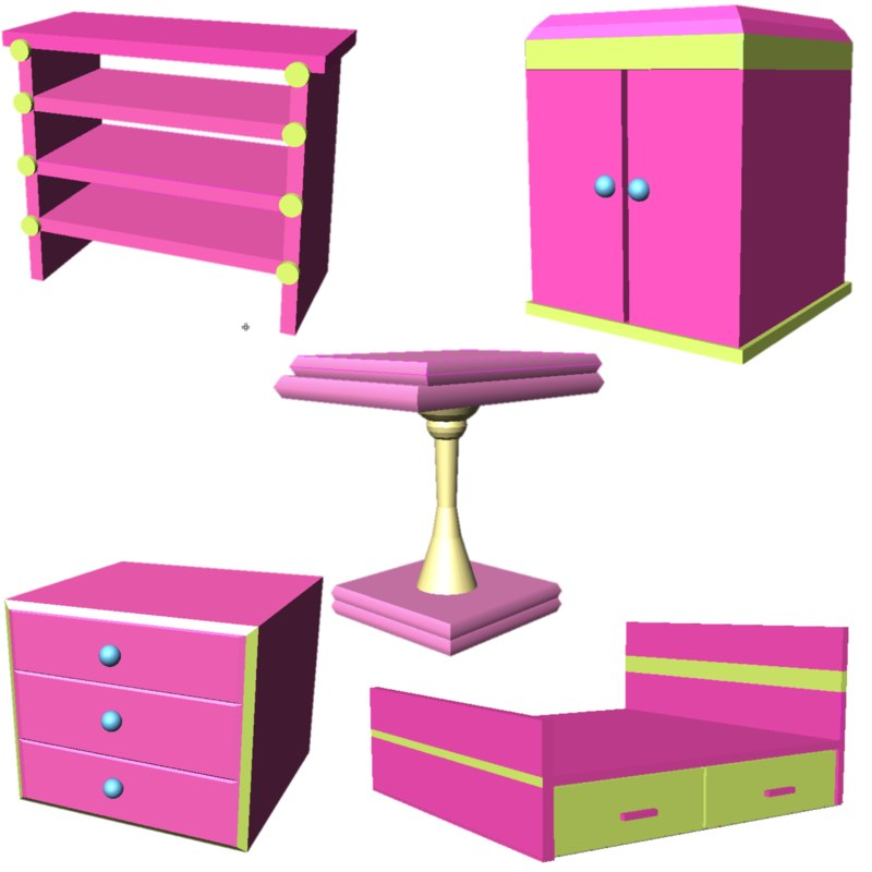 cupbord comode table 3D model