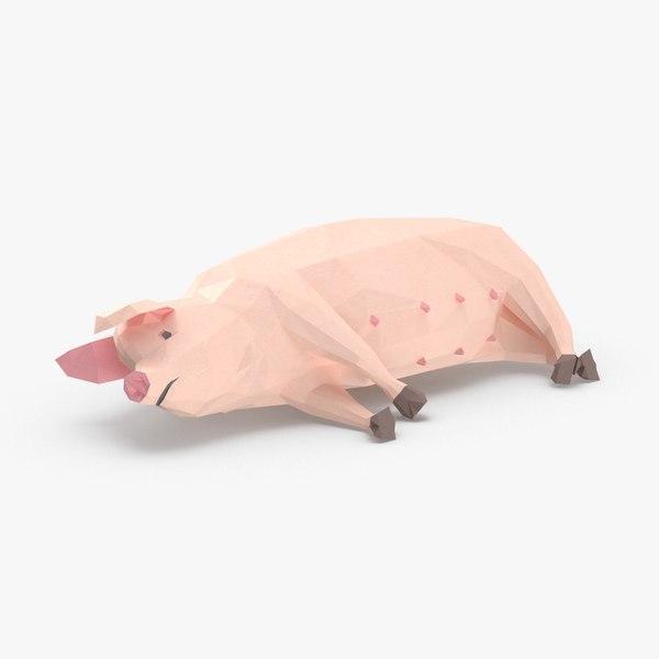 3D pig---lying model