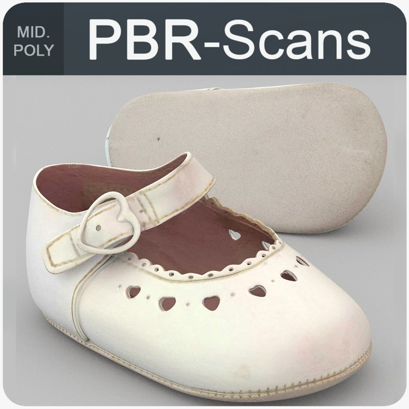 3D white baby shoes