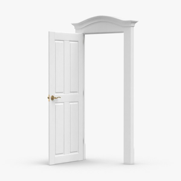 3D model classic-doors---door-1-open