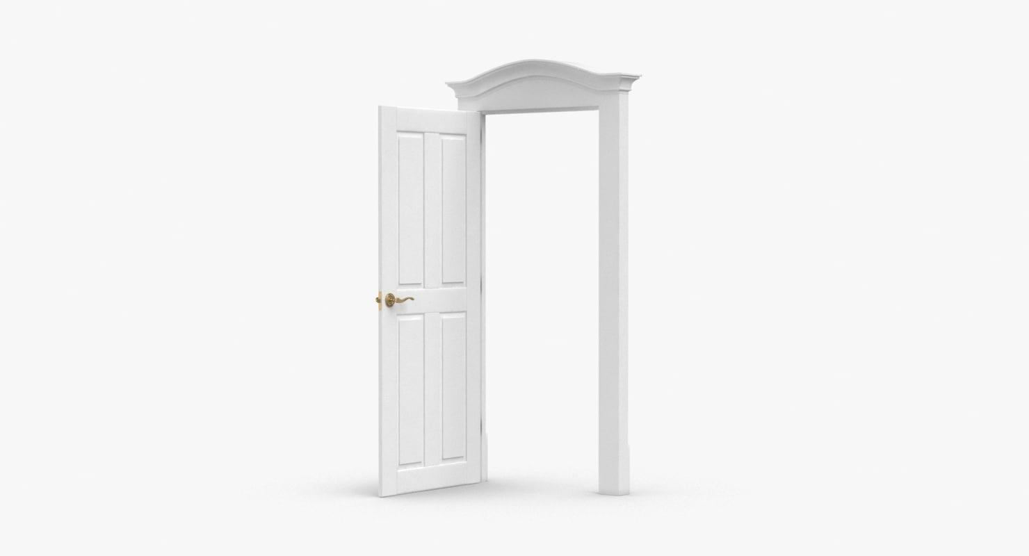 3D model classic-doors---door-1-open