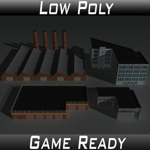 3D factory building set 4 model