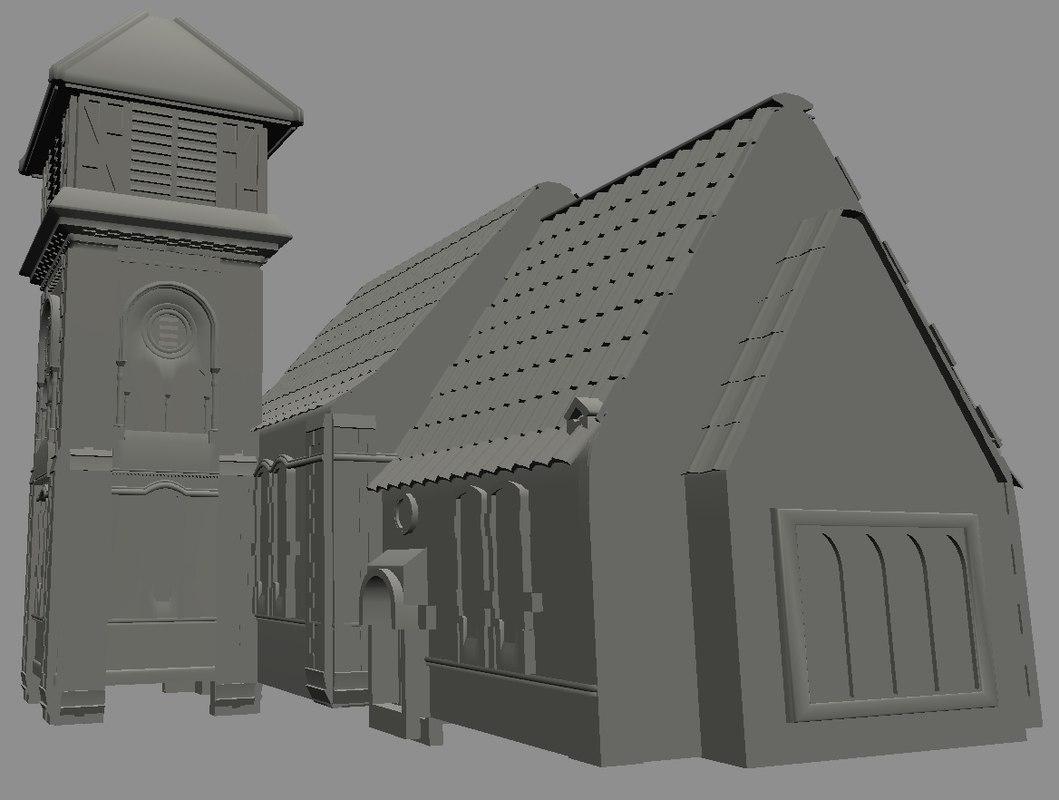 3D church old