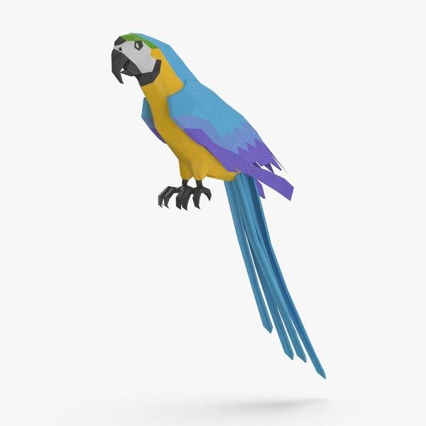 parrot----blue-perching 3D model