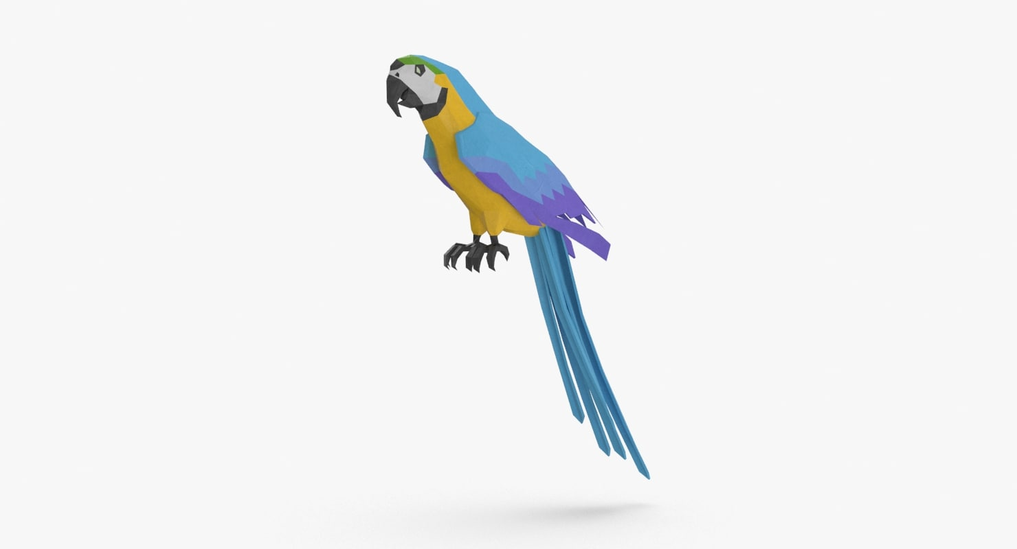 parrot----blue-perching 3D model