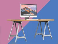 3D wood table imac