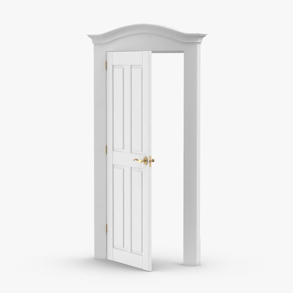3D model classic-doors---door-1-ajar