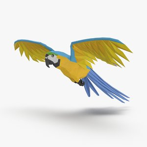 3D model parrot----blue-flying