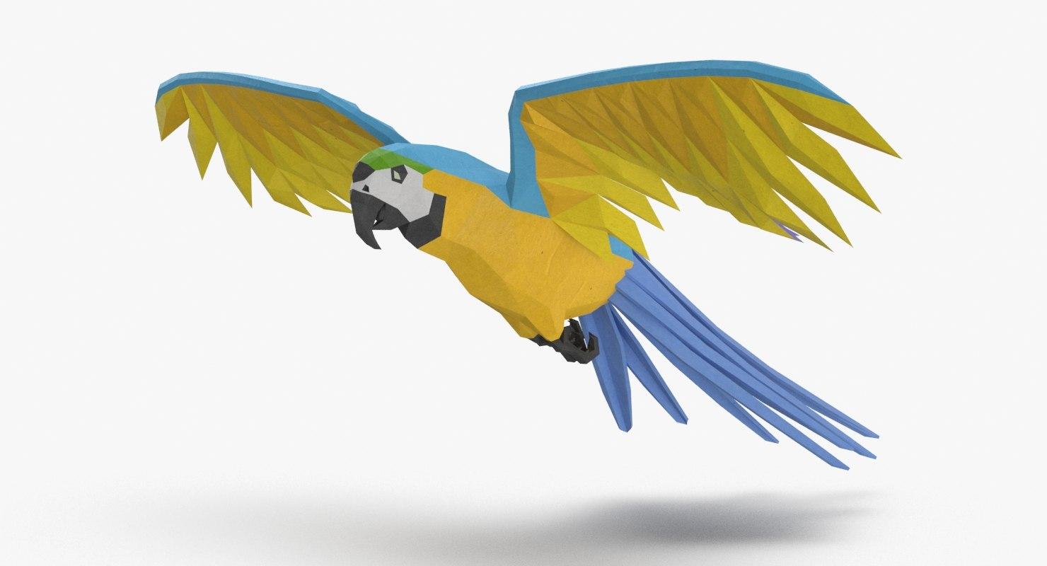 3D model parrot----blue-flying
