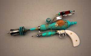 3D raygun gun retro model