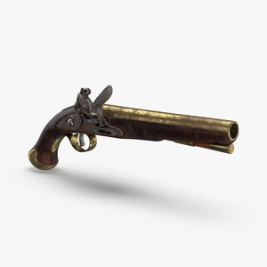 flint-lock-pistol-dirty 3D model