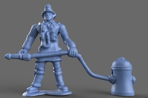3D model fighter hydrant miniature toy